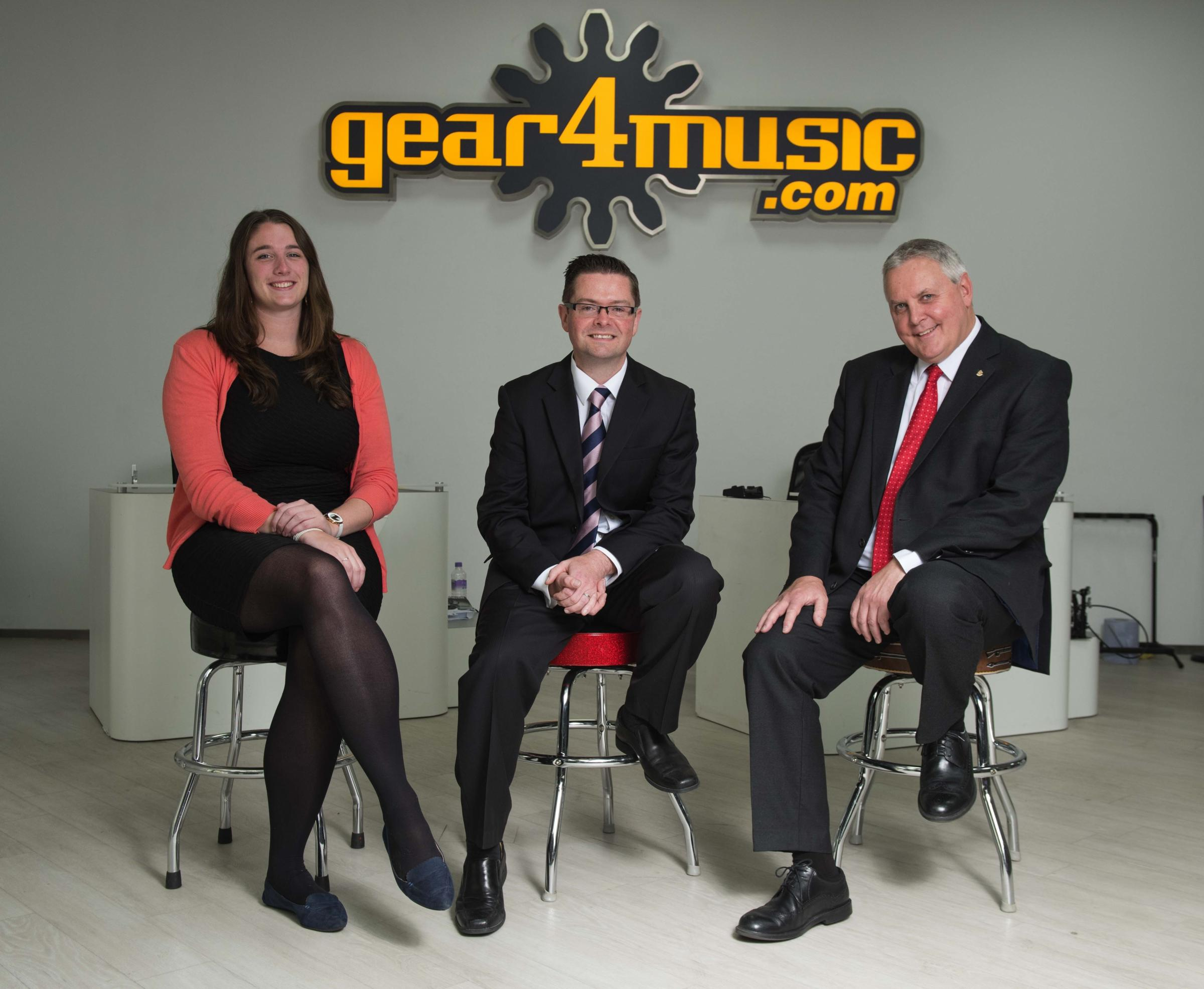 HSBC's Hannah Raistrick, Gear4music's chief financial operator Chris Scott and HSBC's Jonathan Rutter