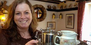 Tracey Cuthbertson at the Yorkshire Tea Rooms on Castlegate, in Malton
