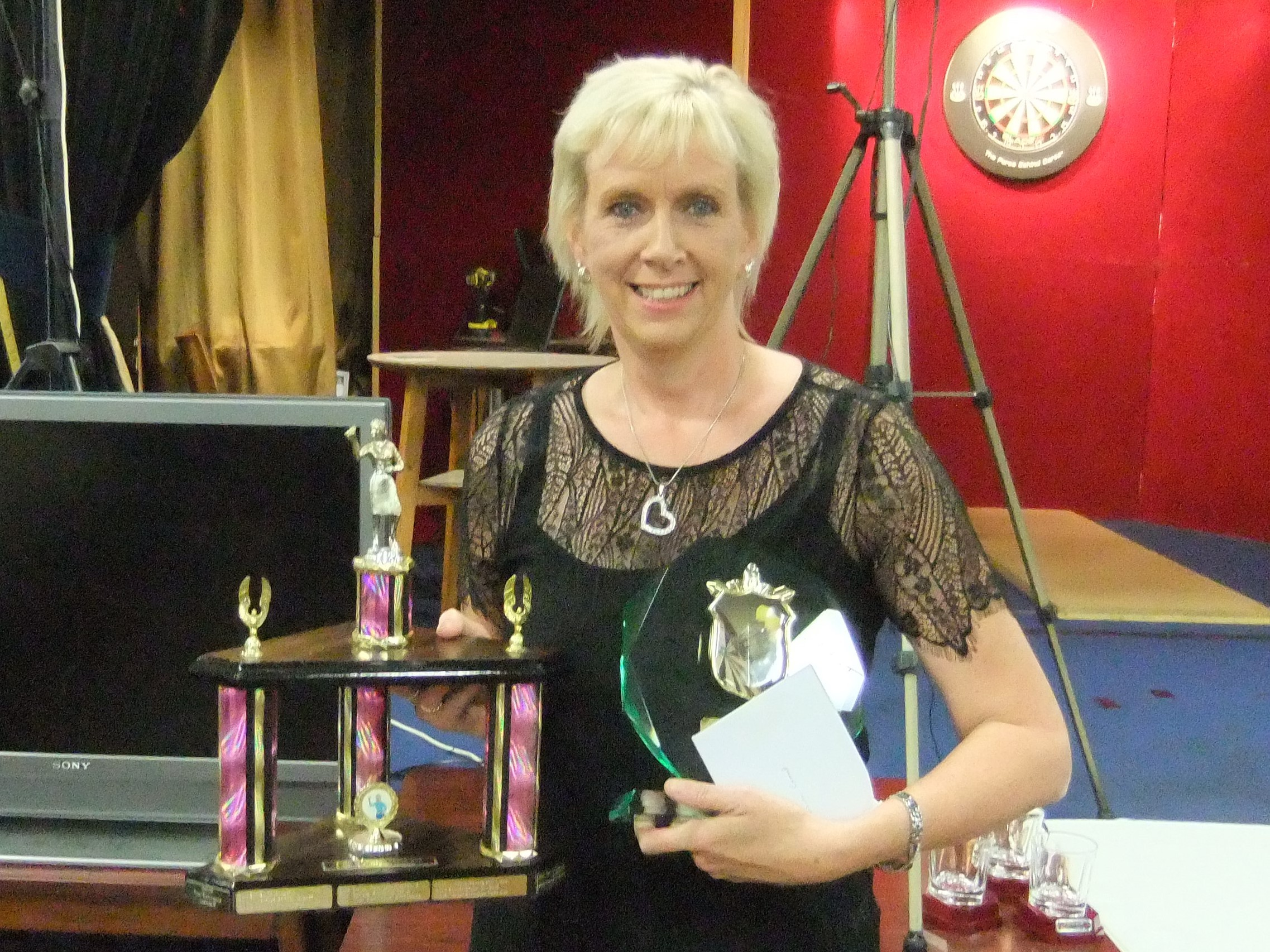 DOUBLE TOPS: Tracey Farmeary with her York John Smith's Ladies League individual and captain/vice captain's trophies