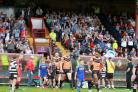 The players take to the field in front of a bumper crowd for York City Knights' Super 8s match against Toronto Wolfpack at Bootham Crescent on July 30. Picture: Gordon Clayton