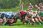 Set-piece action from Malton & Norton's wonderful win over West Hartlepool. Picture: Barrie Tuck