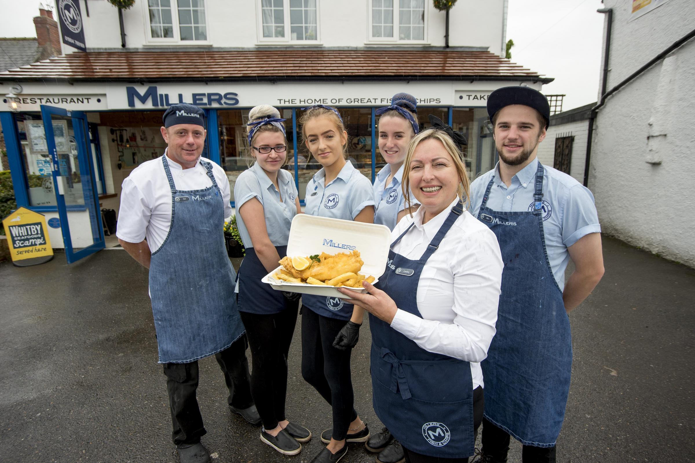 Miller's fish and chips, Haxby, York.From the left, fryer Dan Hamilton, Gemma Popely, Lauren Dixon, Lesley Miller co-owner and restaurant manager, Ellie Duck and Ben Vollans.