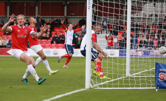 DOUBLE CENTURY: Jon Parkin watches his 200th career goal hit the back of the net at Salford. Picture: Gordon Clayton