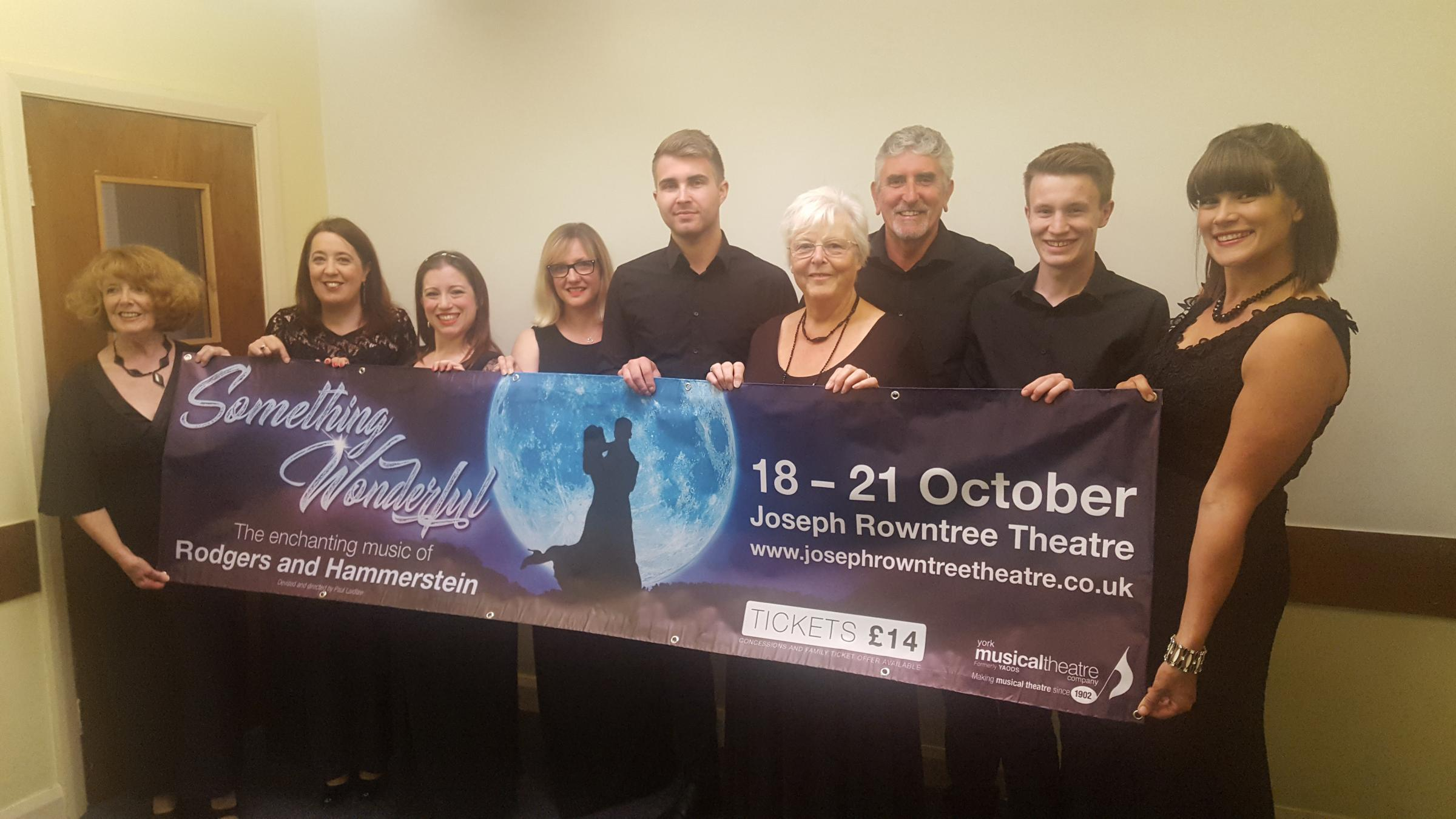 Something Wonderful cast members Jenny Cohen, left, Jane Holiday, Amy Lacy, Kathryn Addison, Matthew Ainsworth, Gill Baldwin, Larry Gibson, Sam Rippon and Kelly Derbyshire
