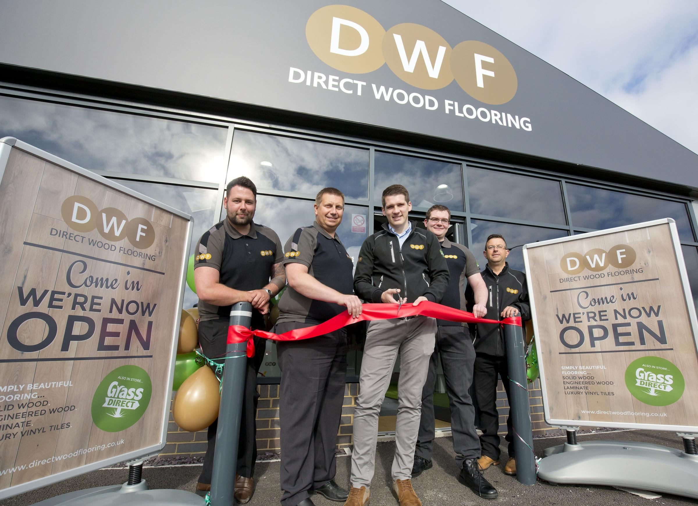 At the Direct Wood Flooring earlier this year, from left, Stuart Crawford, Mark Clayton (store manager), Chris Barber (retail operations manager), Michael King and Richard Aldridge