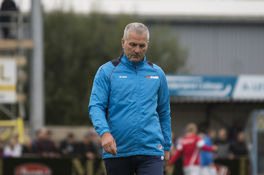 FINAL ACT: Gary Mills walks off the pitch at the end of the 3-2 FA Cup defeat at South Shields that cost him his job. Picture: Ian Parker