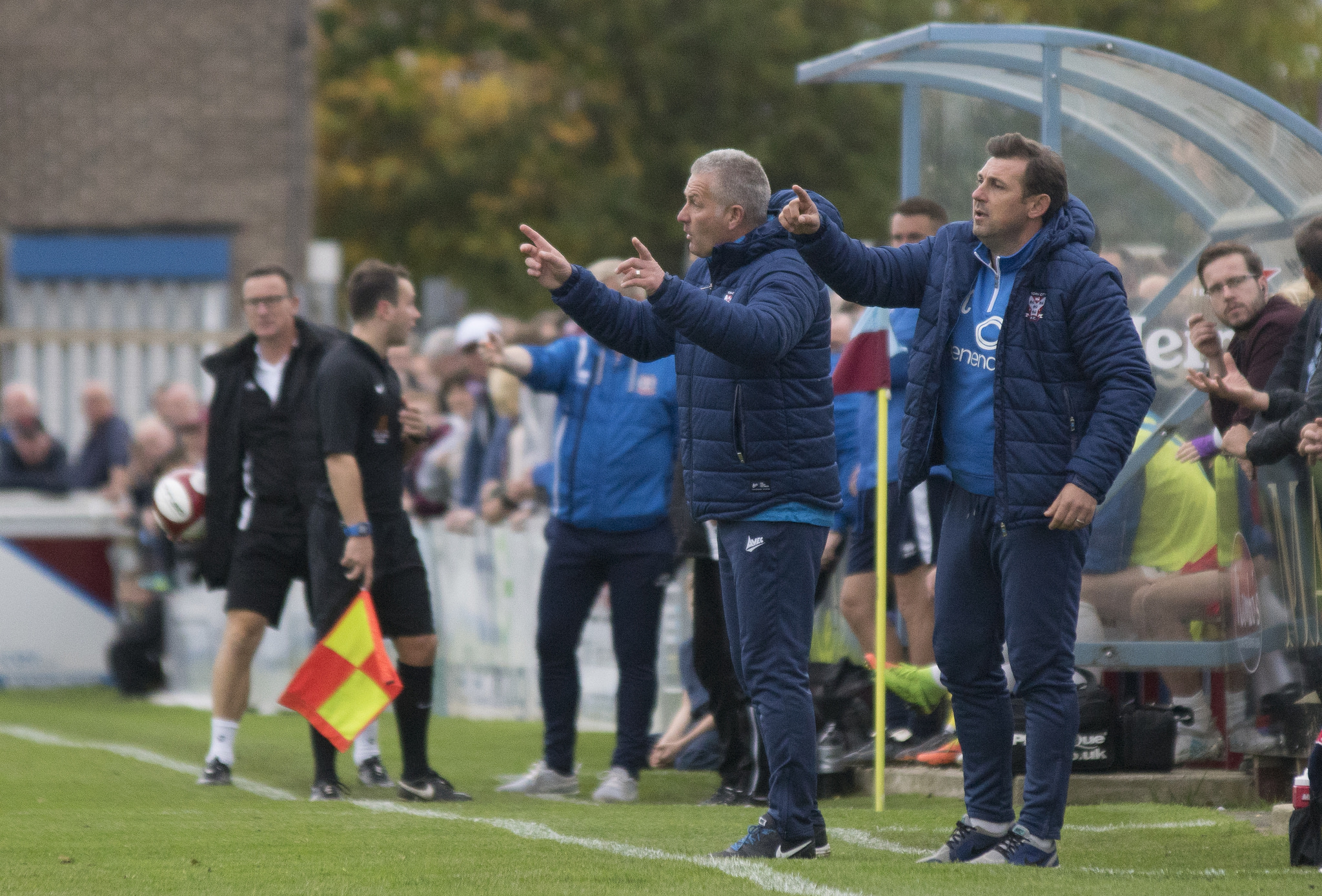 LAST STAND: York City's sacked management team of Gary Mills and Darren Caskey try and make a point during their final game in charge at South Shields. Picture: Ian Parker