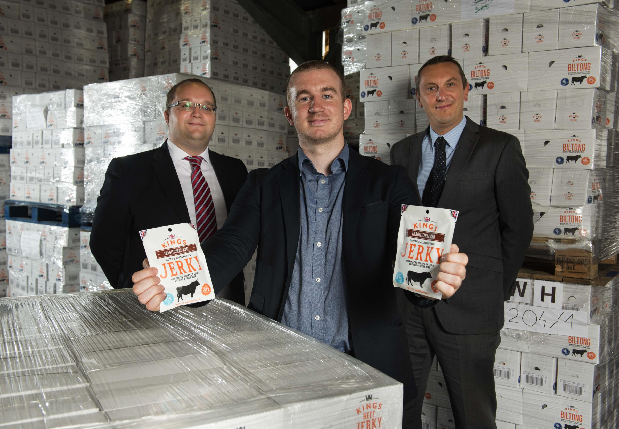 From left Stephen Smith, HSBC, Charlie Simpson-Daniel, Managing Director at New World Foods (Europe) and Julian Catchpole, HSBC