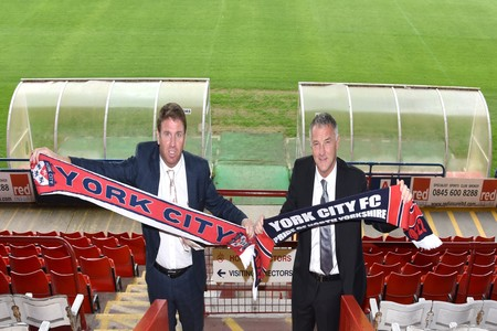 STICKING TOGETHER: York City sporting director Dave Penney (right) believes the club should stand by manager Martin Gray (left) regardless of whether the team make this season's play-offs or not