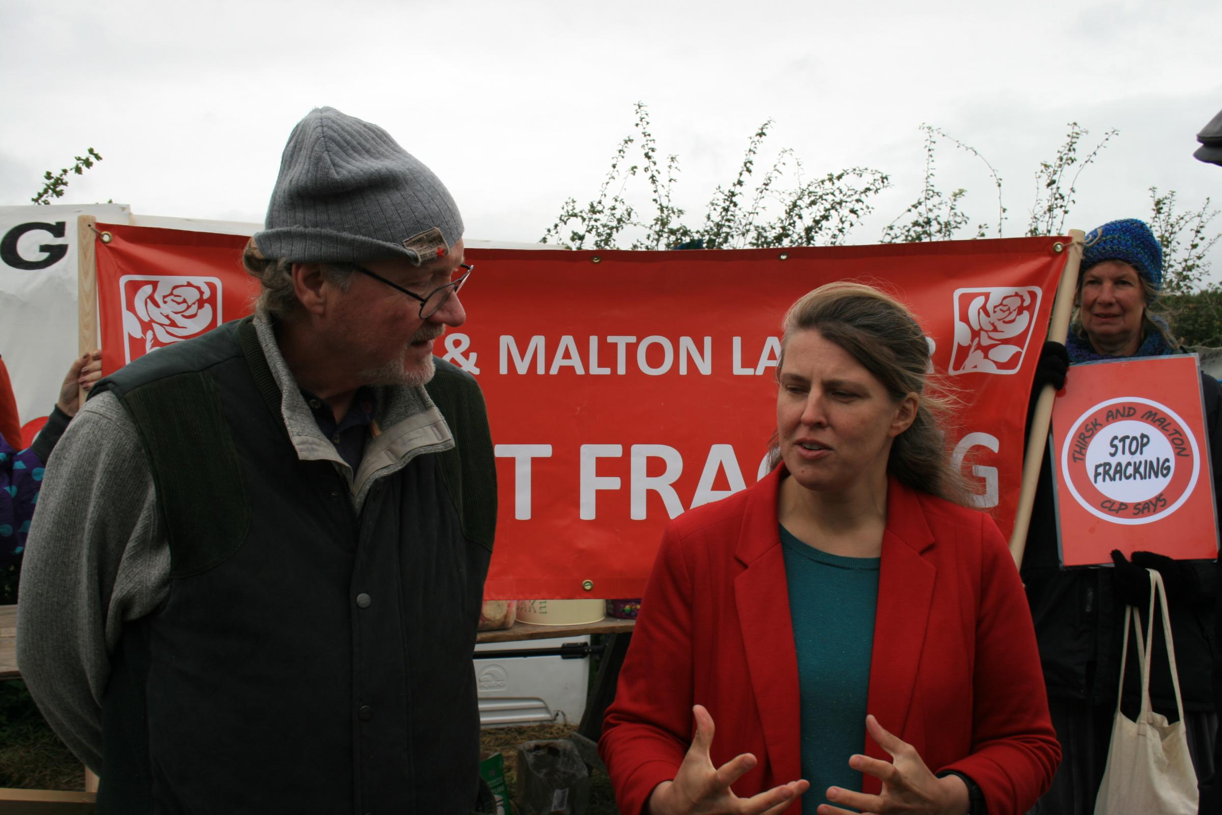Rachael Maskell visits fracking site, October 2017. Picture: T&M Labour Party