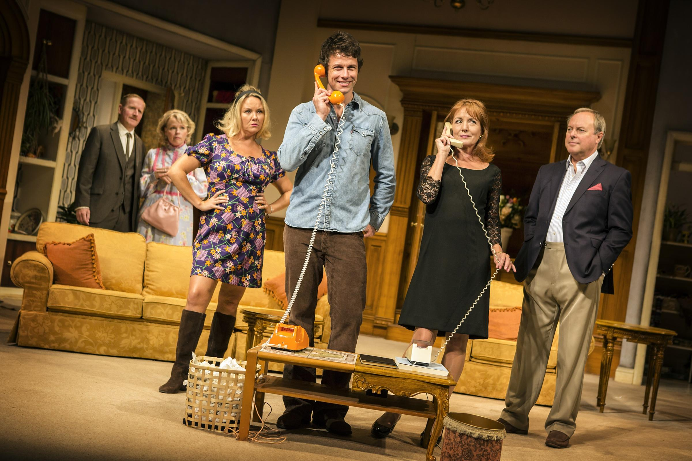 Matthew Cottle, left, Sara Crowe, Charlie Brooks, Leon Ockenden, Caroline Langrishe and Robert Daws in How The Other Half Loves