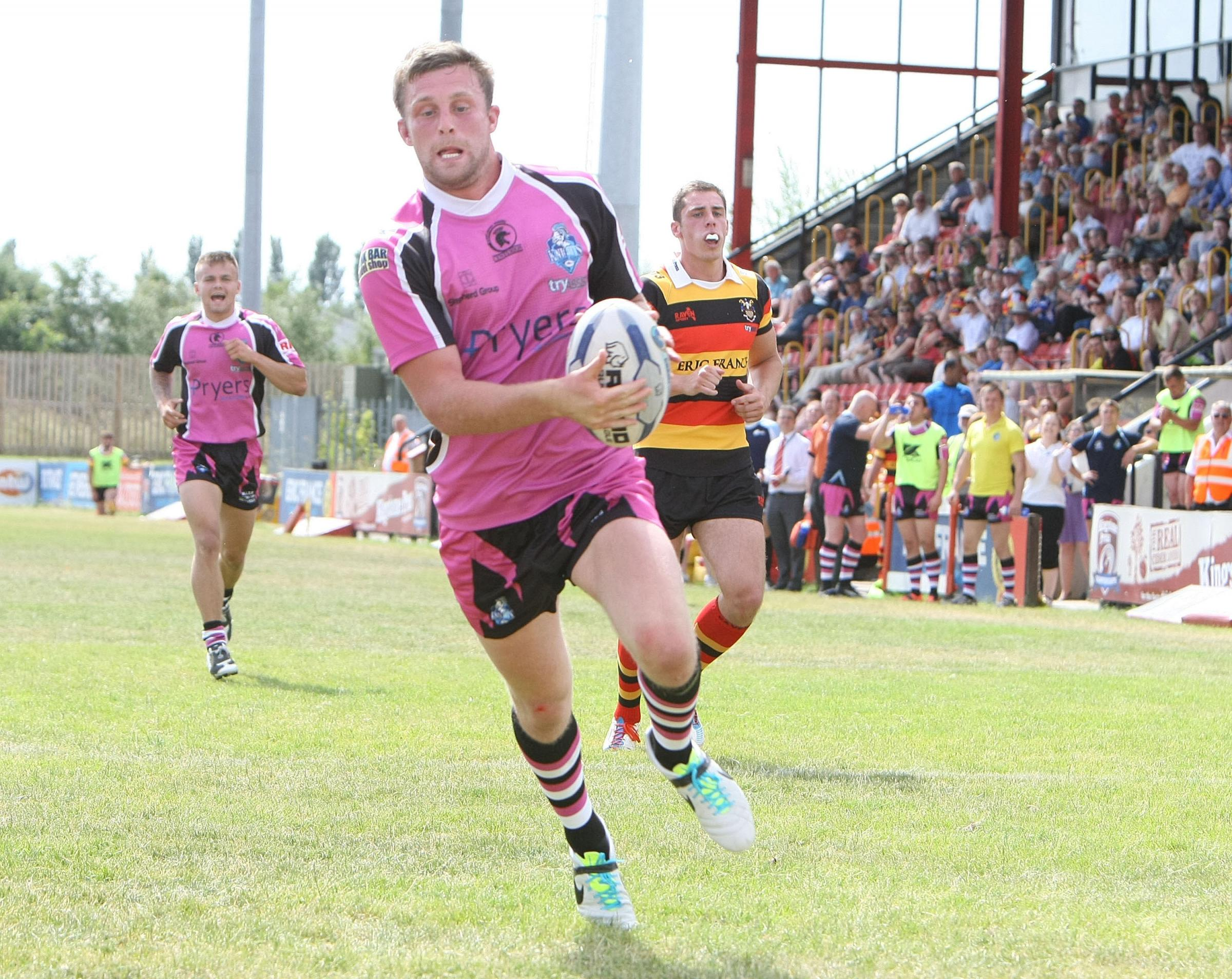 RETURNING? Sam Scott scores for York City Knights in the Championship match at Dewsbury Rams in 2013