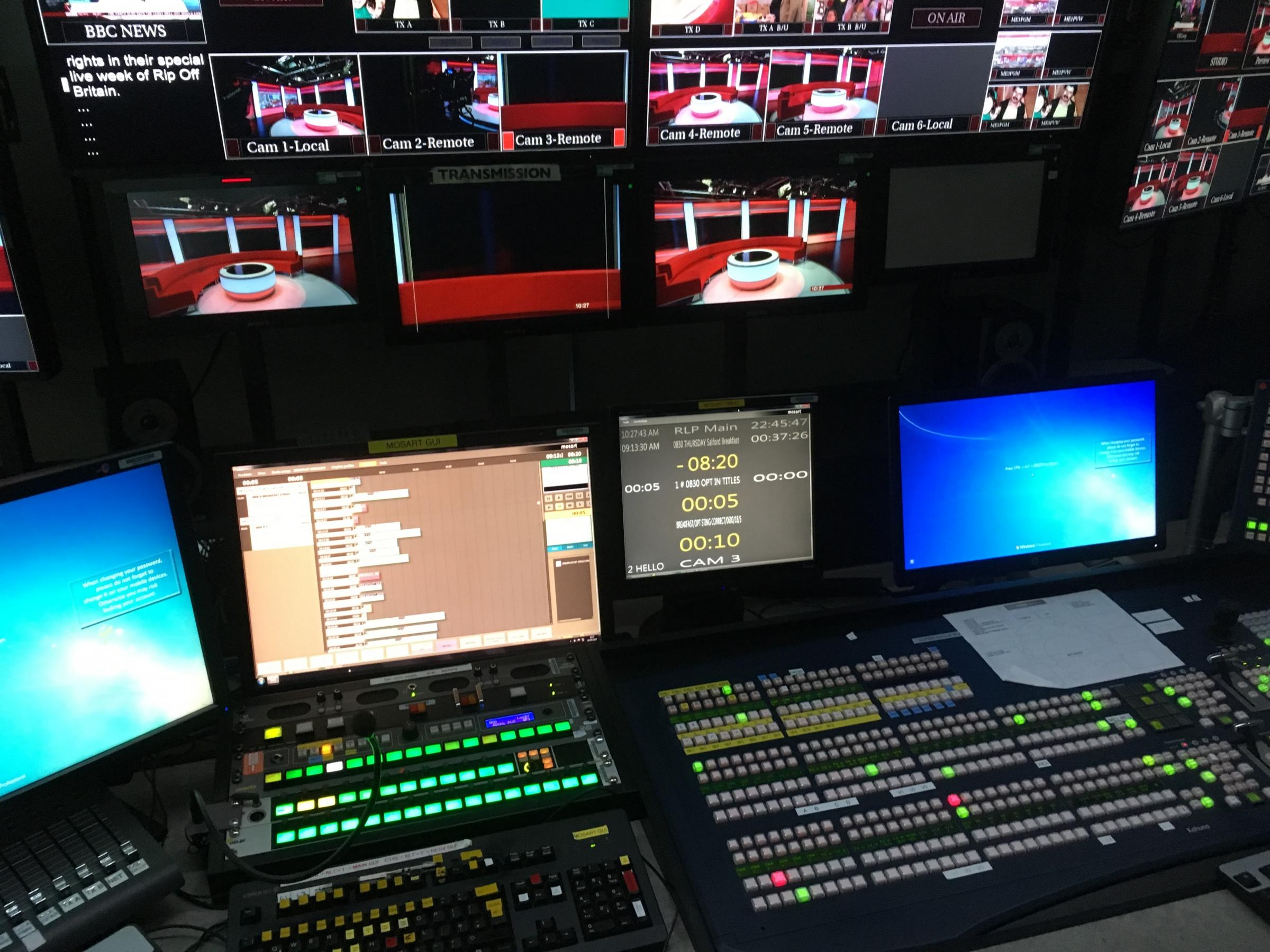 A traditional BBC live mixing desk, which could be replaced by a single camera and laptop thanks to software created by Isotoma