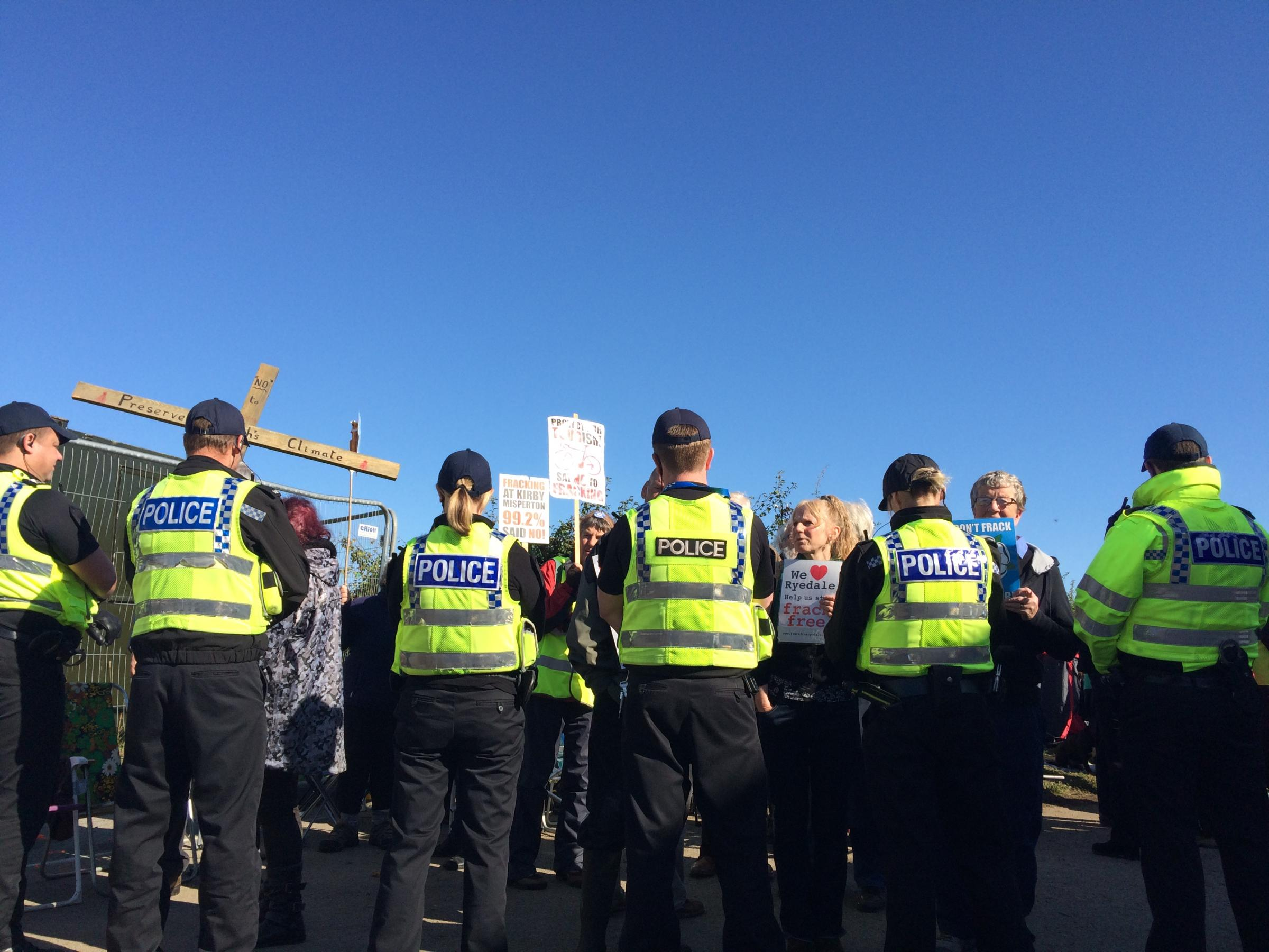 Road re-opened after protesters released from 'lock-on' device