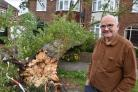 David Baynam  with the tree that has fallen on semi detached houses in Hunters Way, York  Picture Frank Dwyer.