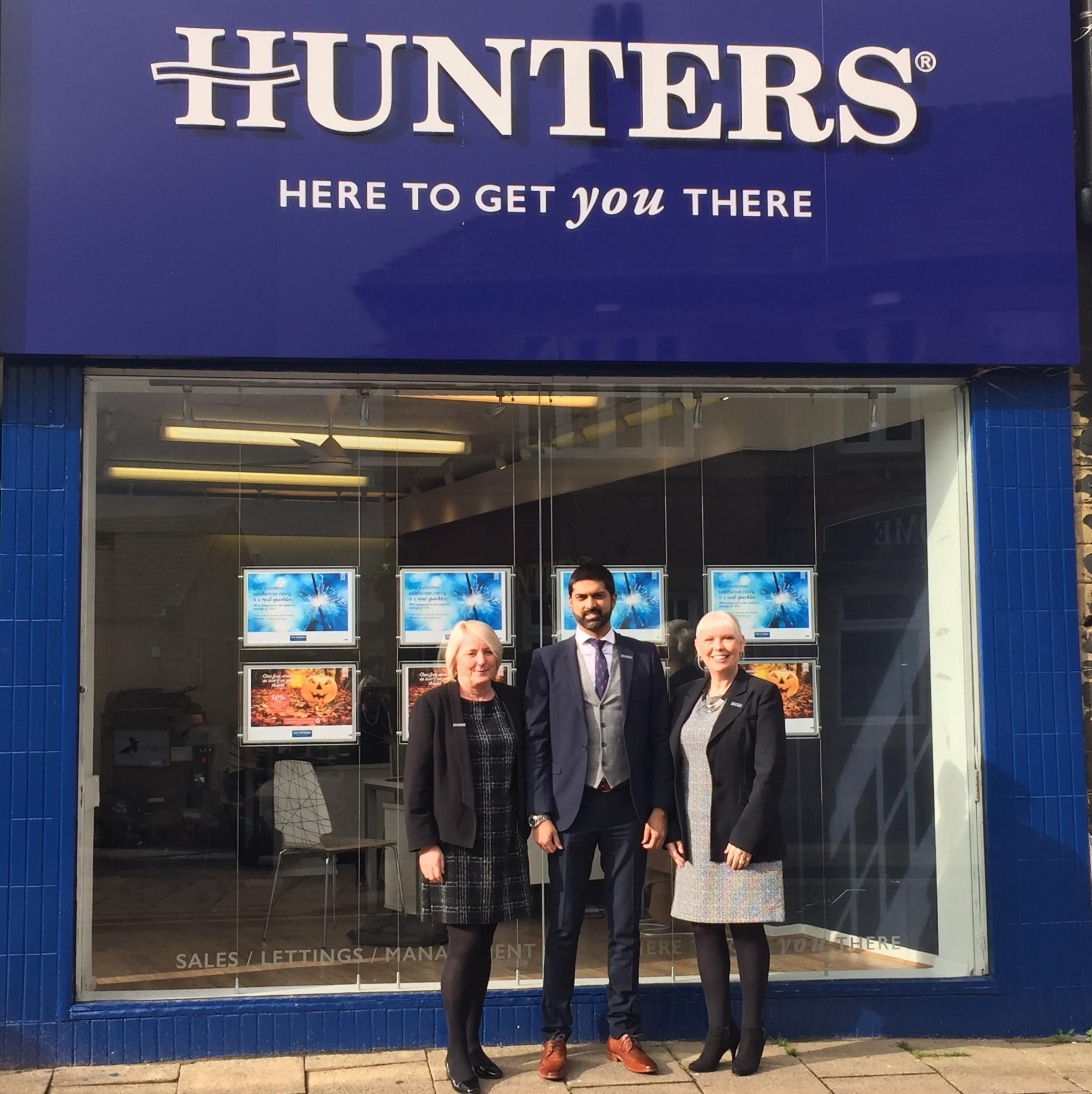 The new Hunters Cleckheaton branch, from left, Denise Walsworth, lettings negotiator; Ashraf Esat, director; Susan Bell, branch manager