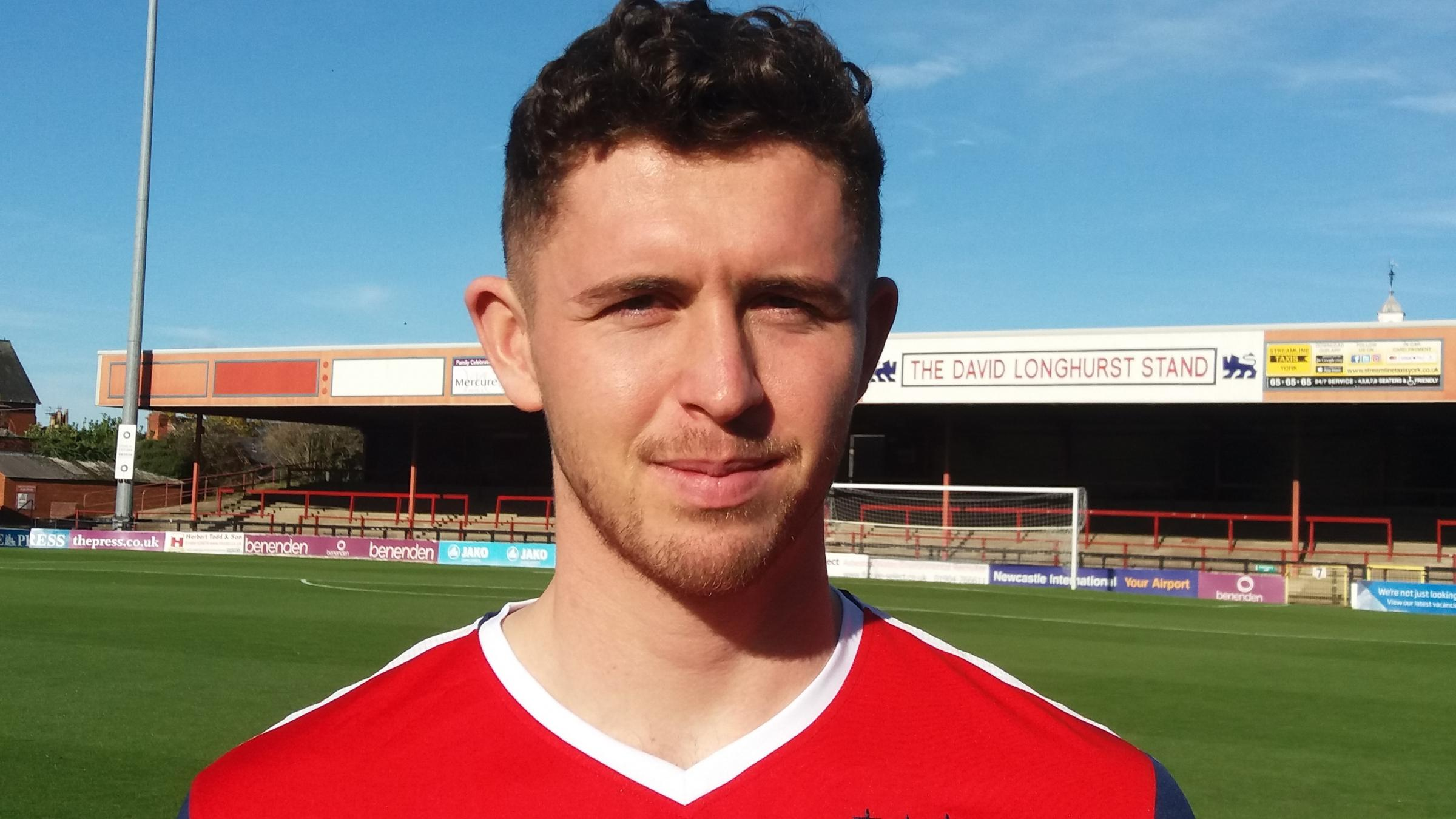 Defender Daniel Rowe pictured at Bootham Crescent after signing for York City