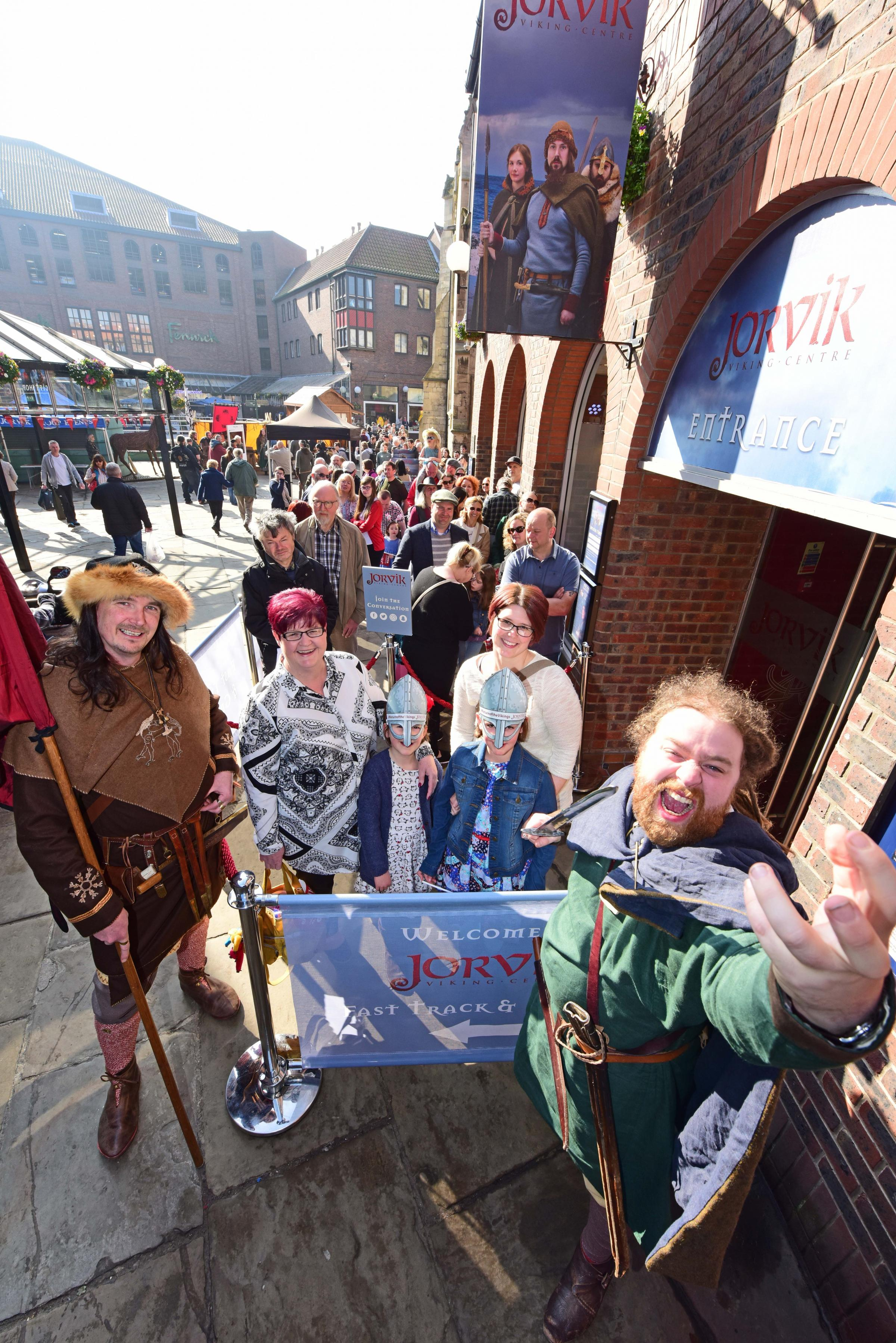Crowds gathering outside the newly re-opened JORVIK Viking Centre showing the success of the Return of the Vikings campaign