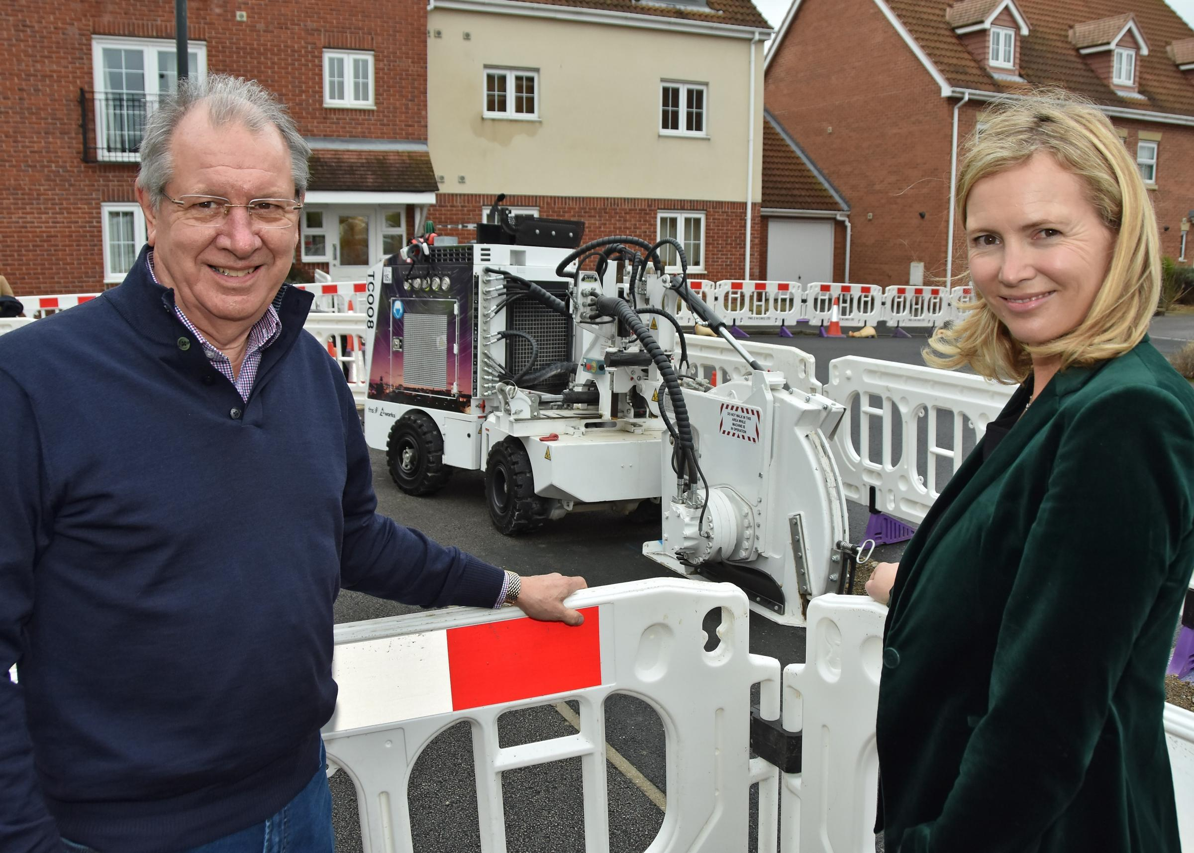 Pictured in Dringhouses with the new trenching machine are City of York Council's David Carr and CEO of Talk Talk Tristia Harrison.