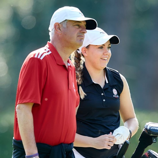 TOP COACH: Steve Robinson with Gemma Clews, who was a member of his England women's team who became 2017 European champions. Picture: Stills Photography