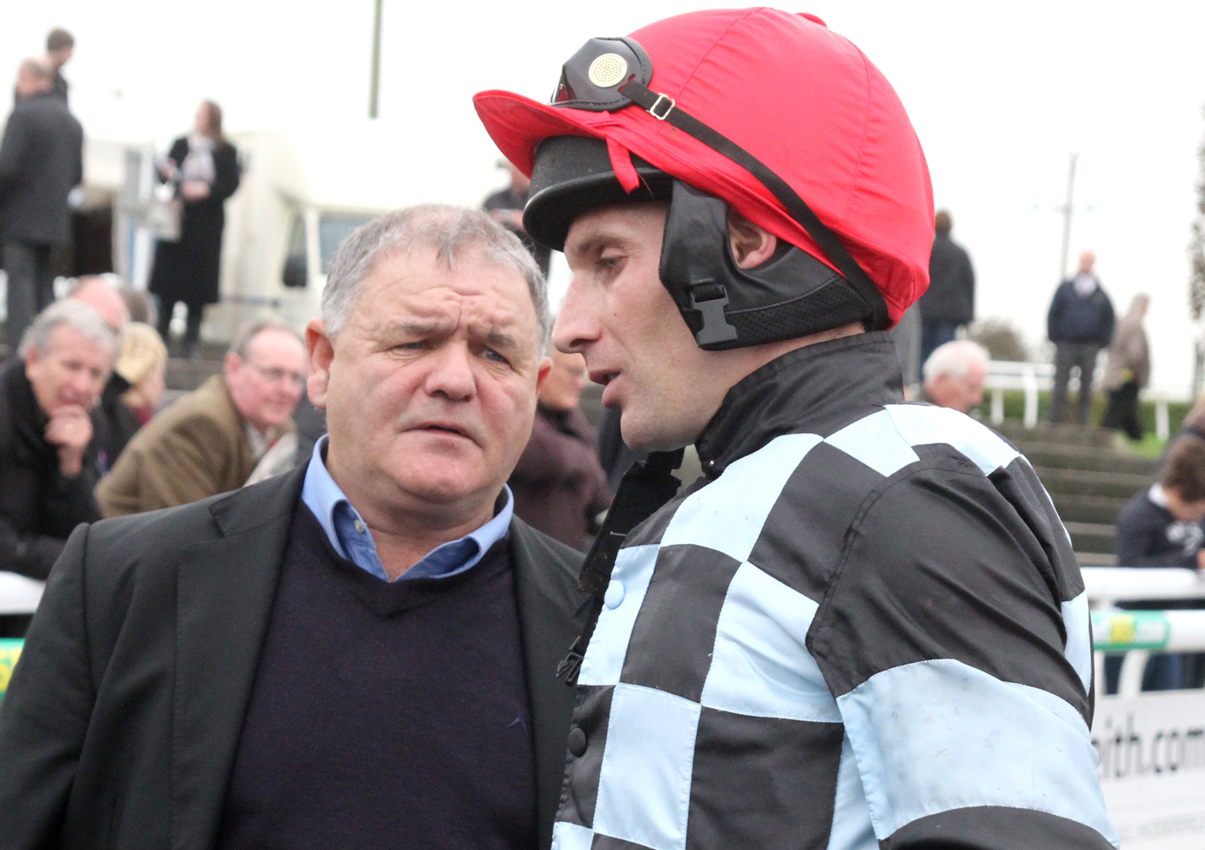 Danny Cook, pictured with trainer Brian Ellison, rides nap selection Definitly Red for the Malton handler at Wetherby – Picture: Alec Russell