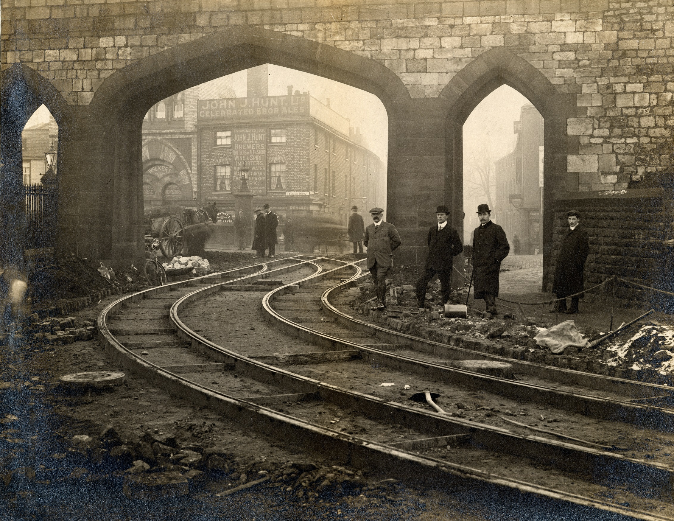 Tram lines being laid in Station Avenue in 1910 Photo: Explore York Libraries and Archives