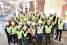 MILESTONE: Pupils at St Aelred's RC Primary and Hempland Primary schools were invited to sign the steel at The Centre    Picture: Frank Dwyer