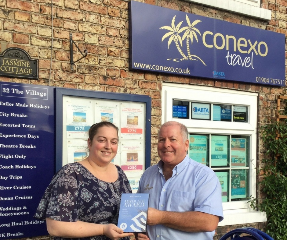 David Carruthers and Emma French of Conexo travel with their Silversea Advocate award