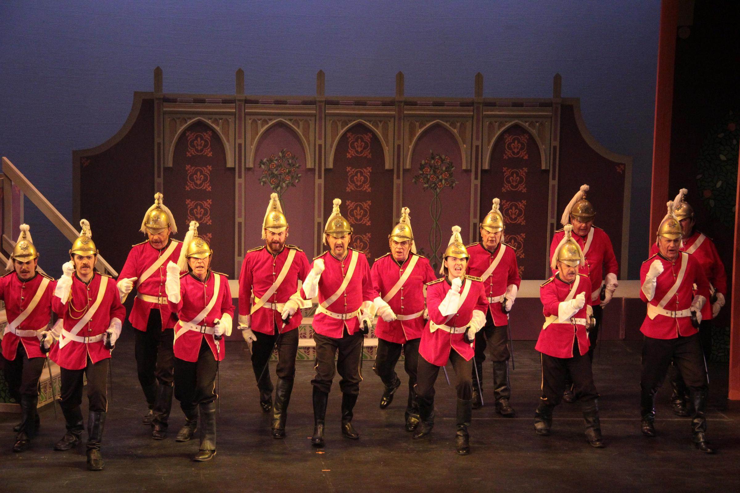 The chorus of Dragoons in York Opera's Patience. Picture: Nigel Lindley