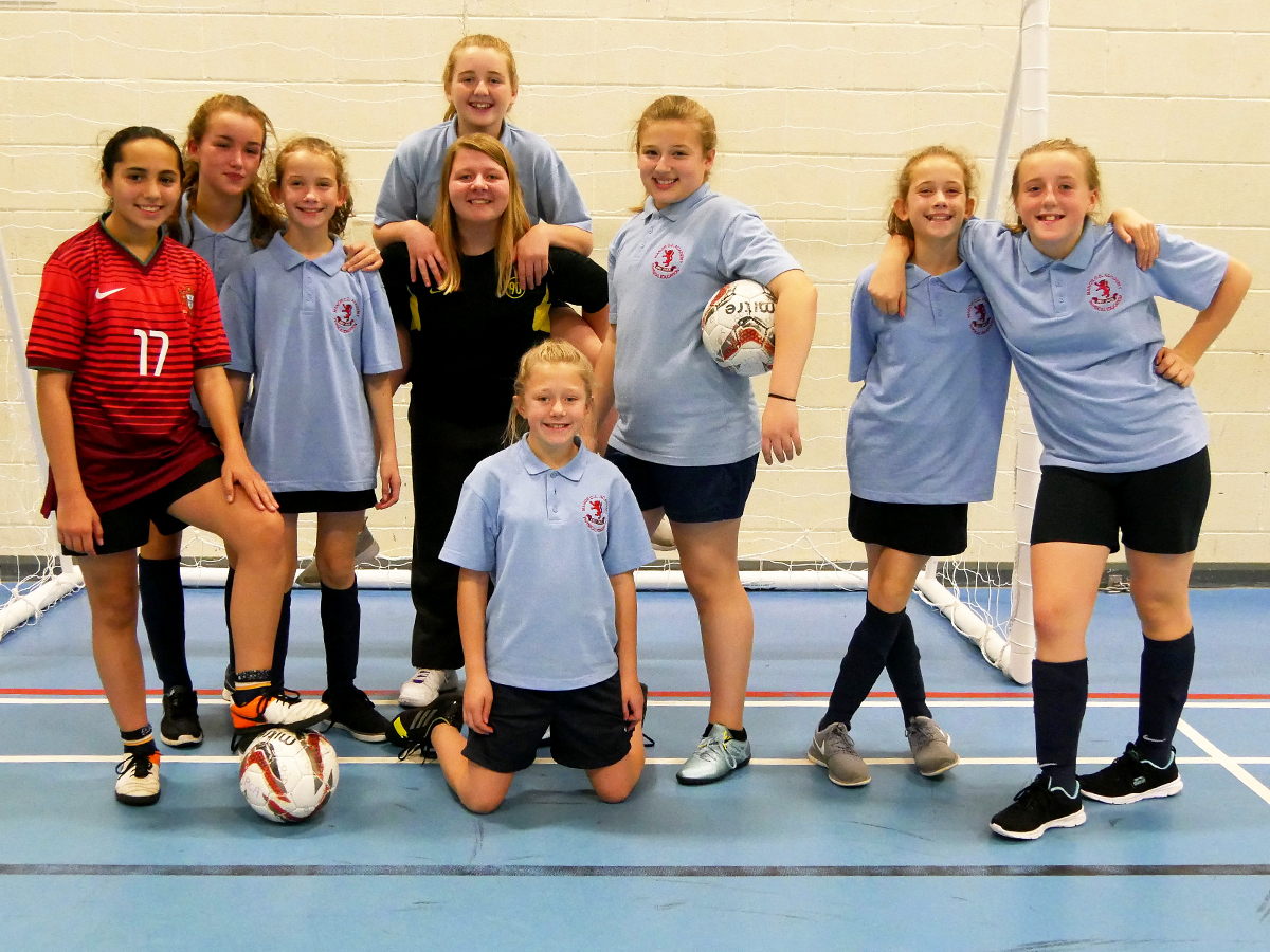 Some of the futsal-playing girls at Manor CE Academy