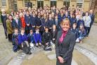 Chief Exec City York Council Mary Weastall with York schoolchildren at 'Secondary Voices'. Pic Nigel Holland