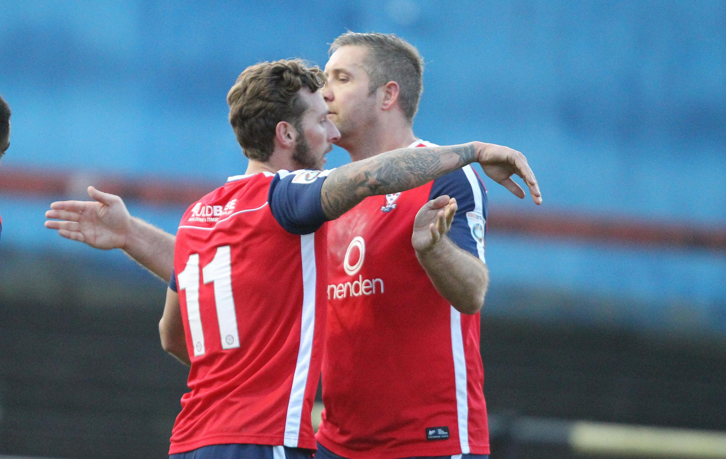 ON TARGET: Gary Martin is congratulated on his first York City goal by fellow marksman Jon Parkin. Picture: Gordon Clayton
