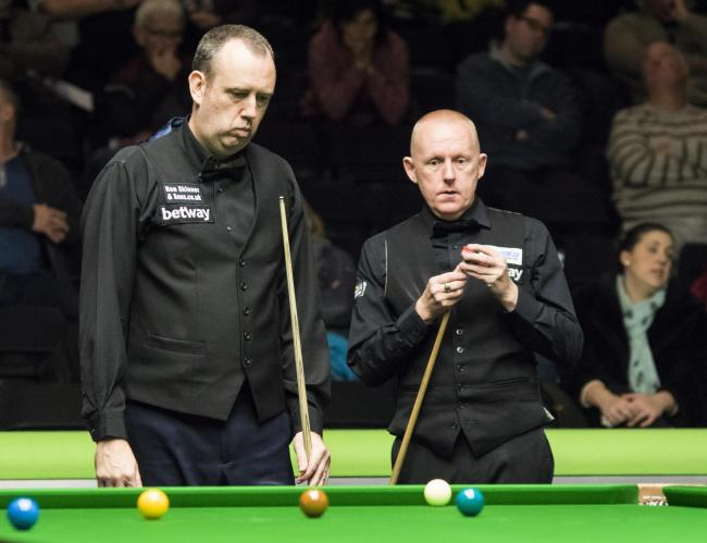 Mark Williams, left, and Pickering's Paul Davison in action at the Barbican today. Picture: Ian Parker