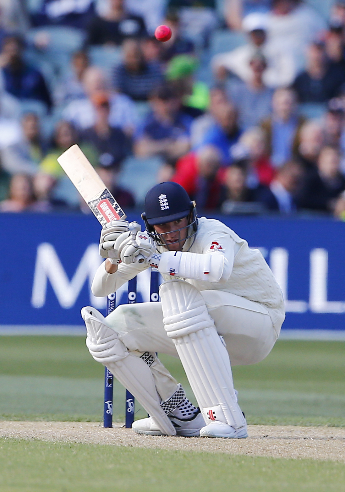 England debutant Craig Overton ducks a bouncer during his dogged 41 not out – Picture: Jason O'Brien/PA Wire