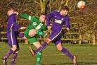 THRILLER: Jordan Holt, in green, got the first equalising goal for Wigginton Grasshoppers as they beat Brayton 4-3