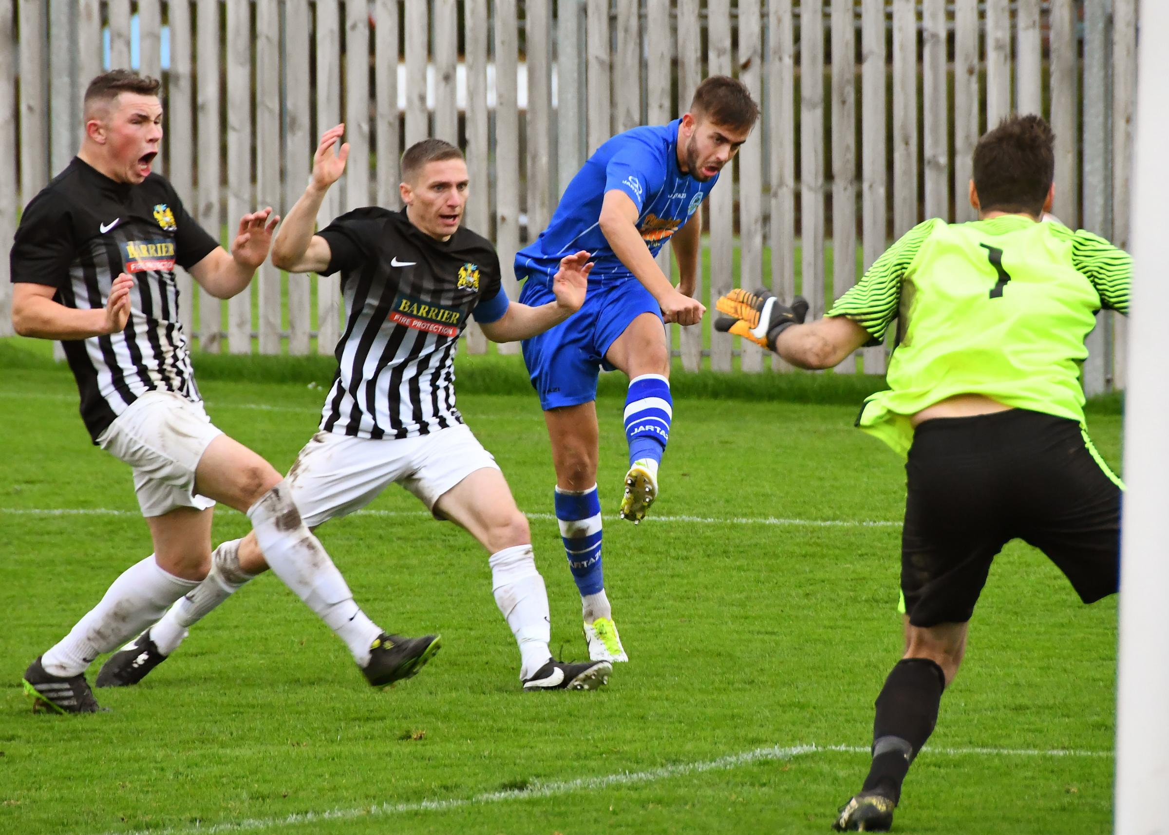 KEY STRIKE: Joe Danby, who got the all-important equaliser for Pickering Town at Barton on Thursday night which kept their promotion hopes alive going into their final game
