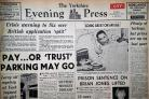 The front page of the Yorkshire Evening Press from December 12, 1967