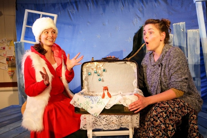 Frances Tither and Sarah Raine playing the elves Coco and Biscuit in Badapple Theatre's The Elves And The Carpenter. Picture: Karl Andre