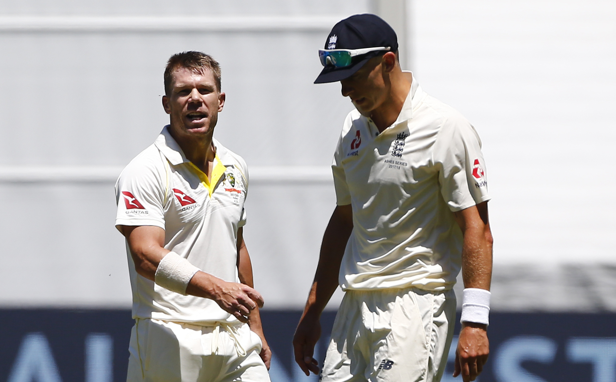 Australia batsman David Warner exchanges words with England bowler Tom Curran – Picture: Jason O'Brien/PA Wire