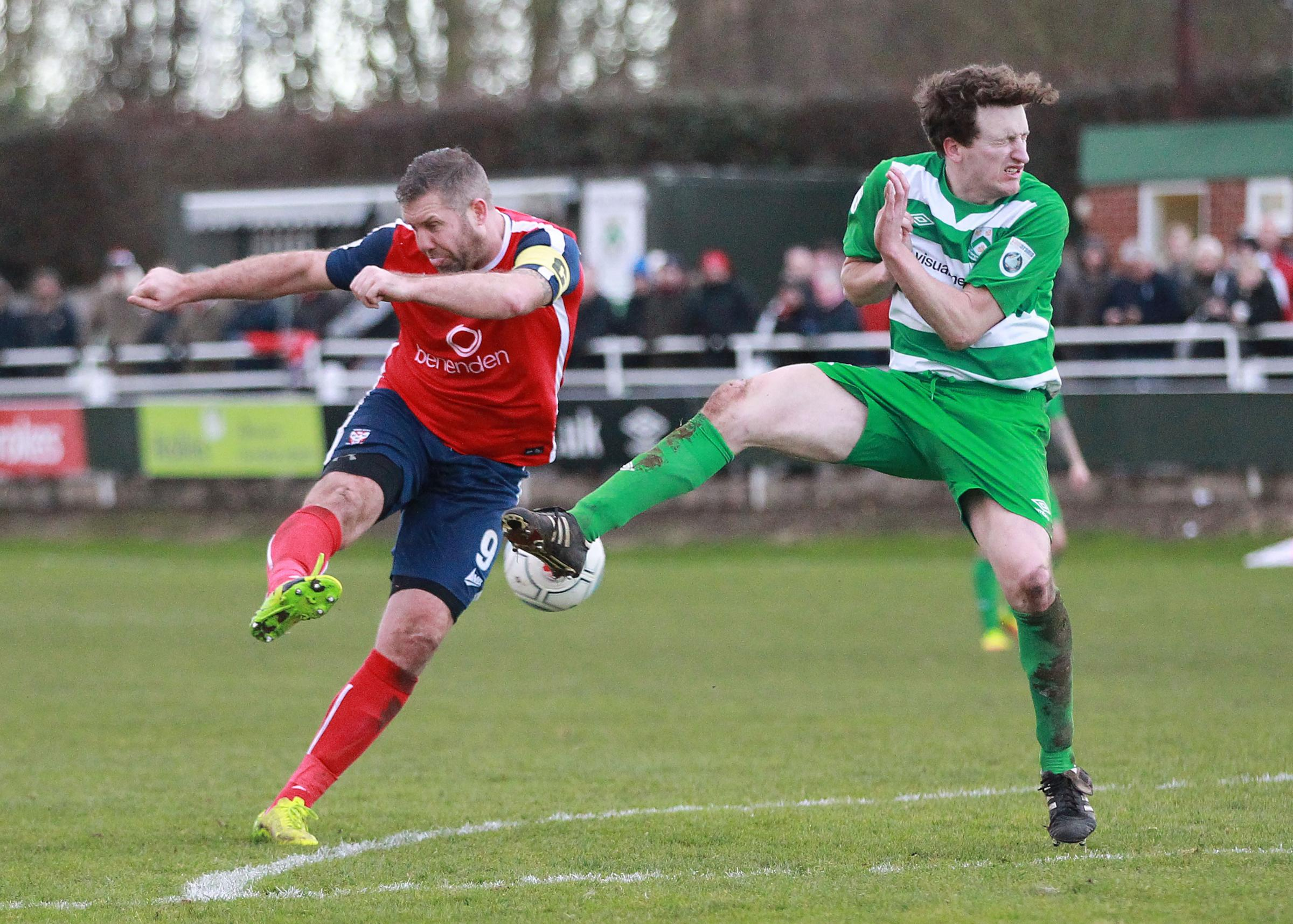 THREE-SY DOES IT: Jon Parkin blasts in his 87th-minute, hat-trick strike during the 4-1 triumph at North Ferriby. Picture: Gordon Clayton