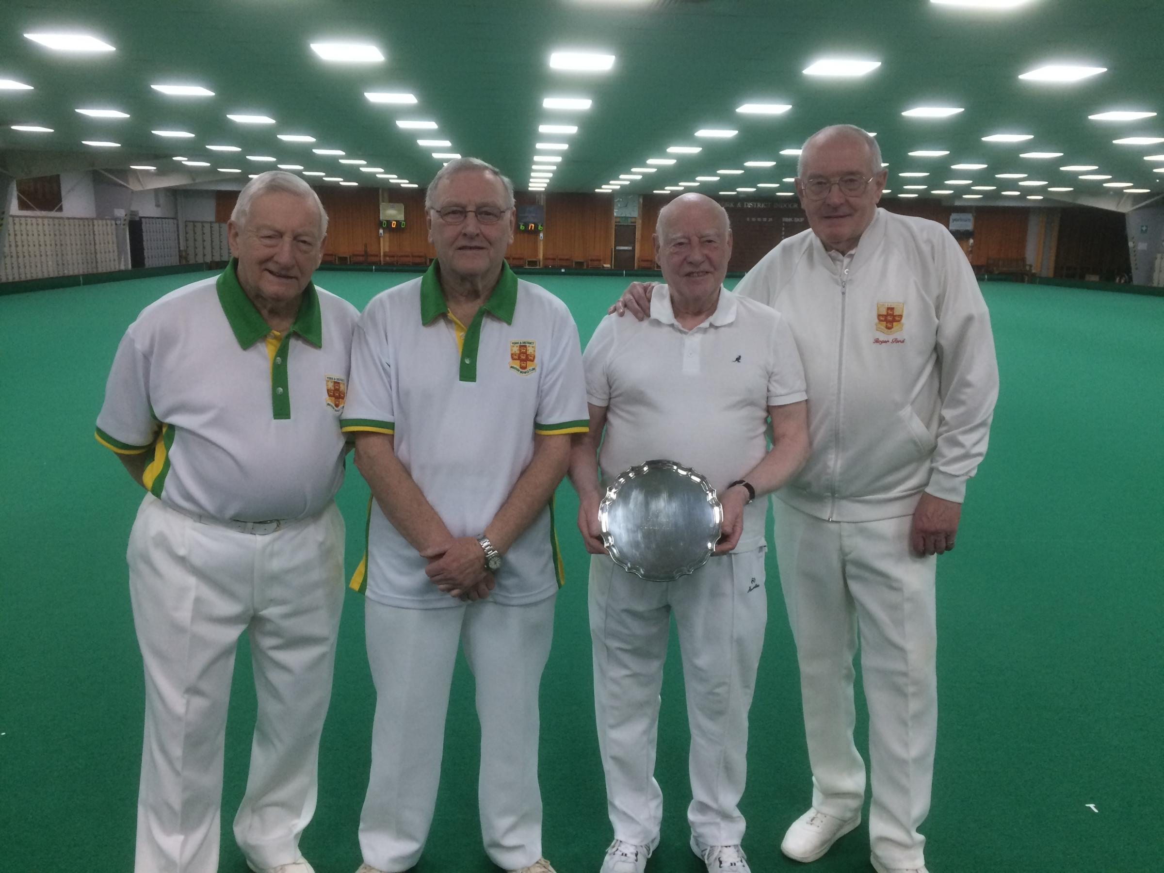 The competitors in the Tom Forbes Pairs final. From left to right: runners-up Tony Horobin and Mick Cooney, and winners Mal Bulmer and Roger Ford