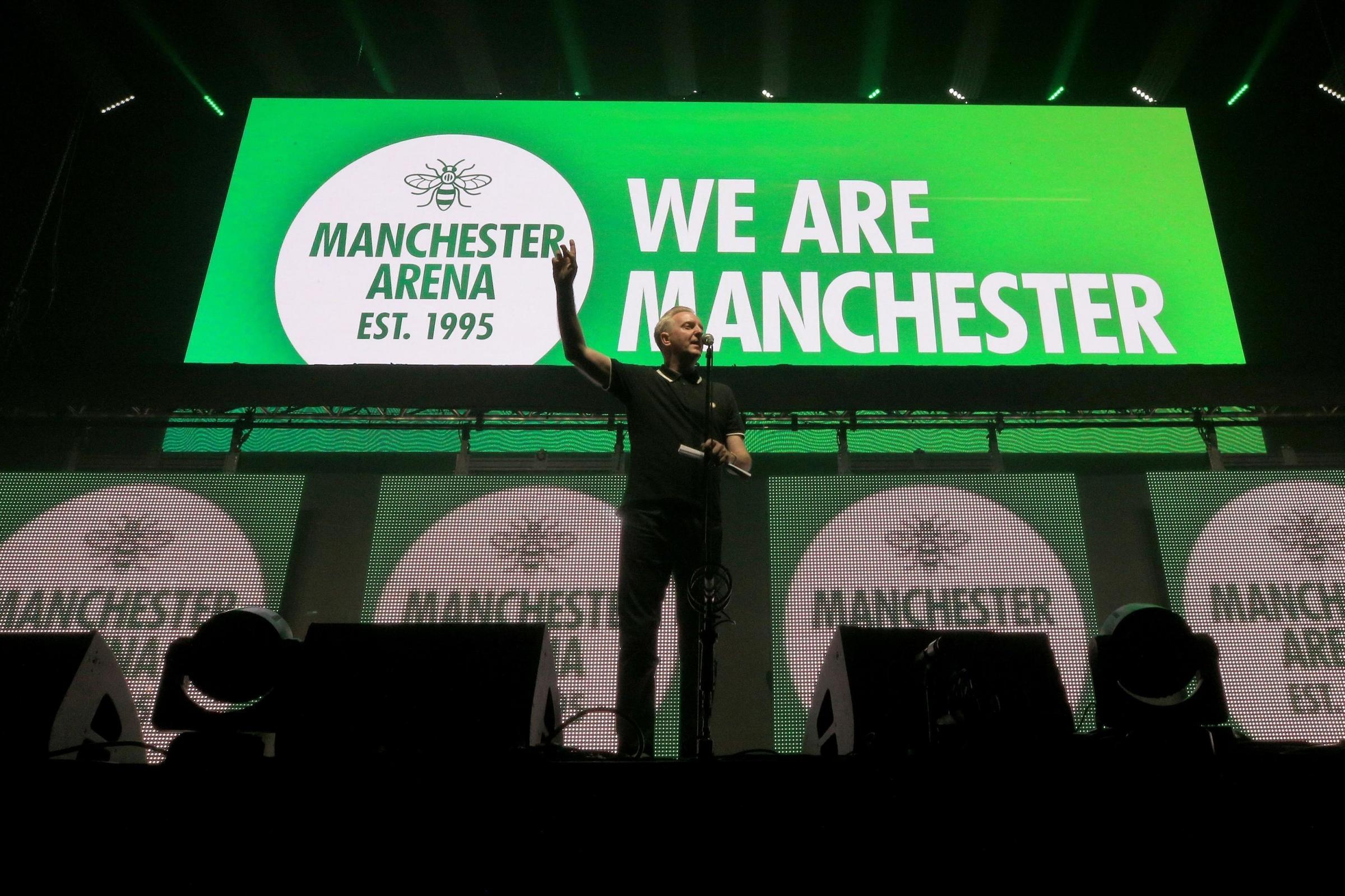 EDITORIAL USE ONLY Tony Walsh AKA Longfella during the We Are Manchester benefit (Peter Byrne/PA)