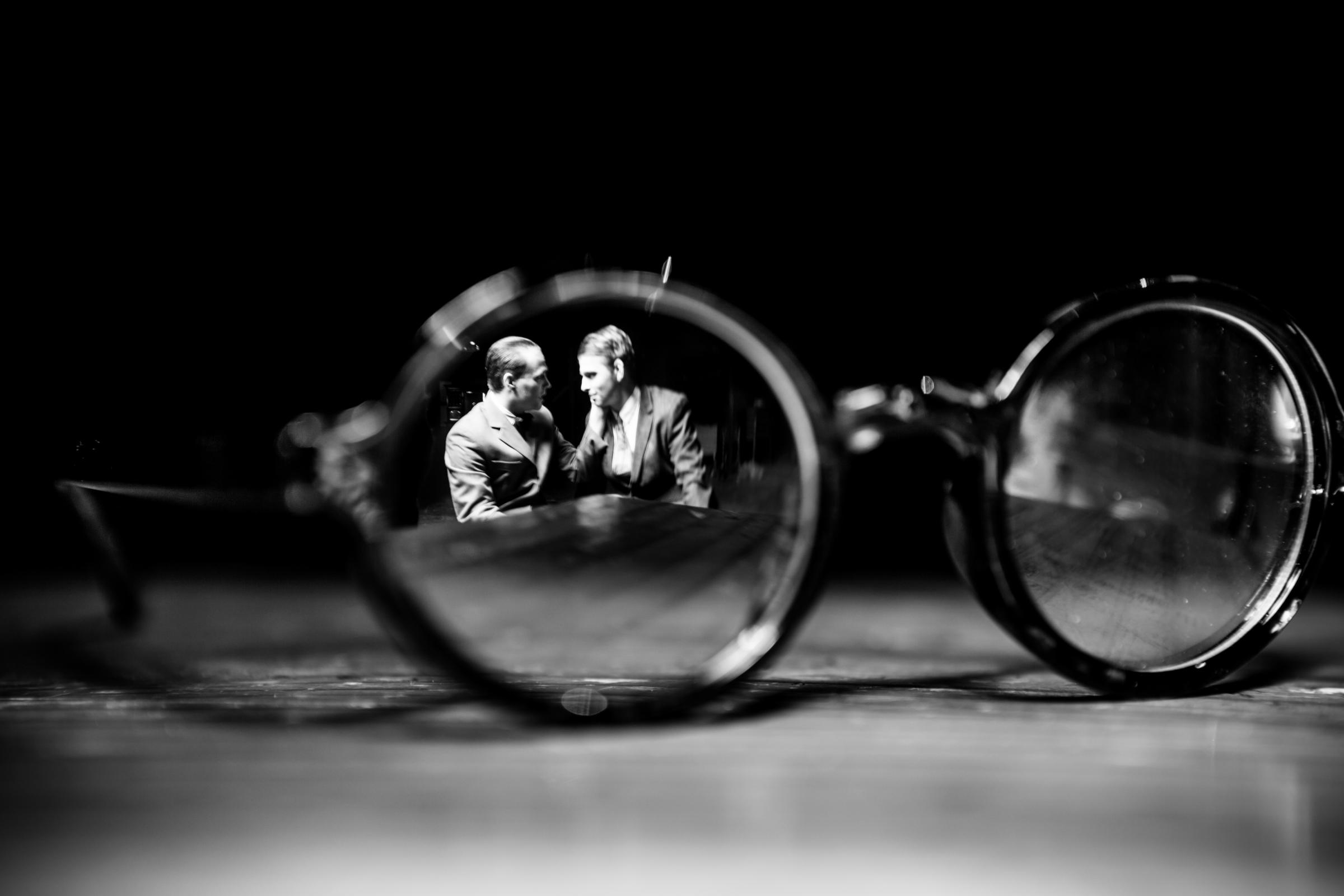 A pair of distinctive glasses found at the murder scene is the all-important clue in Thrill Me, Pick Me Up Theatre's first show of 2018. Picture: Matthew Kitchen Photography