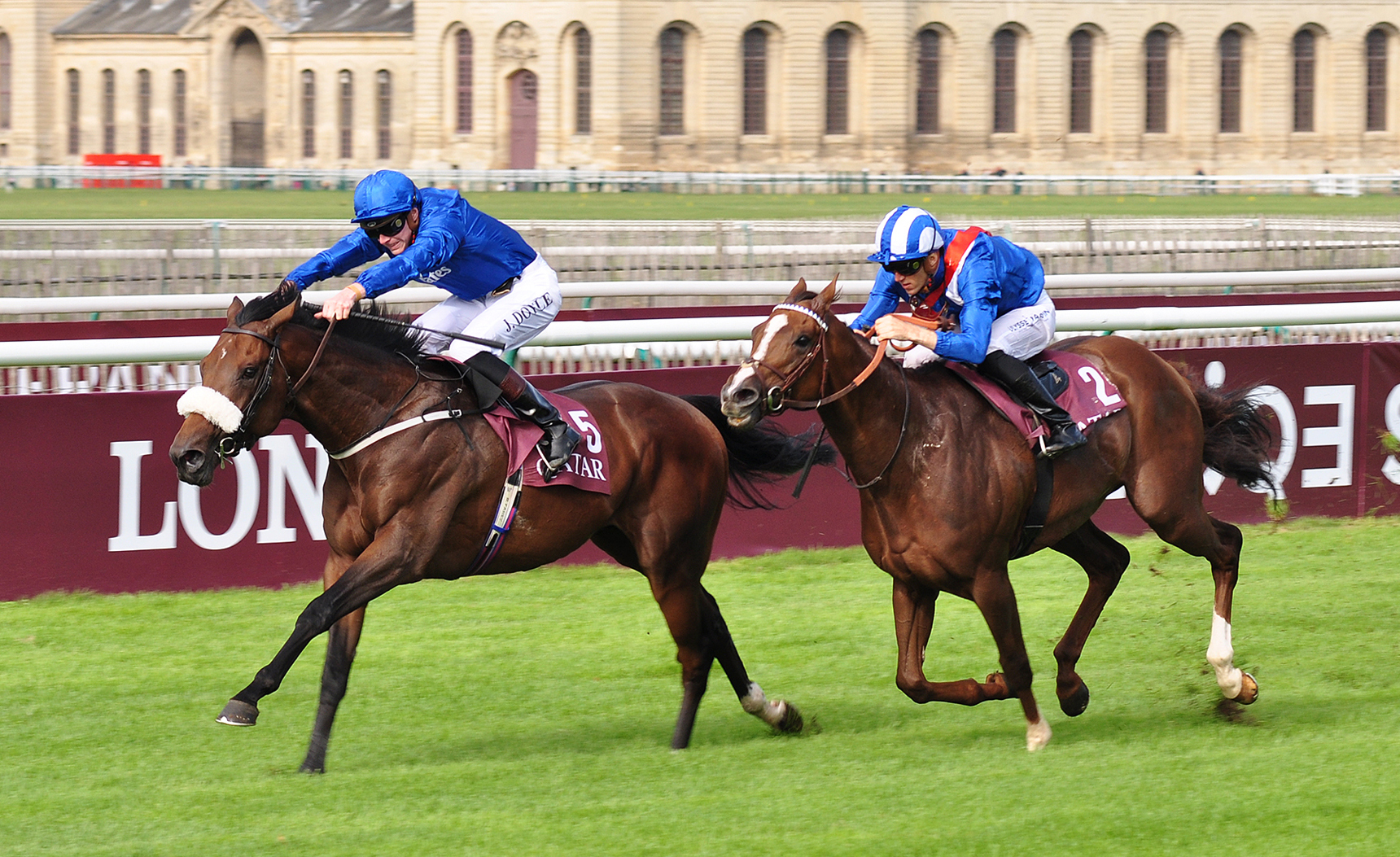 STABLE STAR: Richard Fahey's Ribchester, ridden by James Doyle, beats Taareef to win the Qatar Prix de Moulin Longchamp at Chantilly in September to gain his fourth Group 1 victory and third in 2017