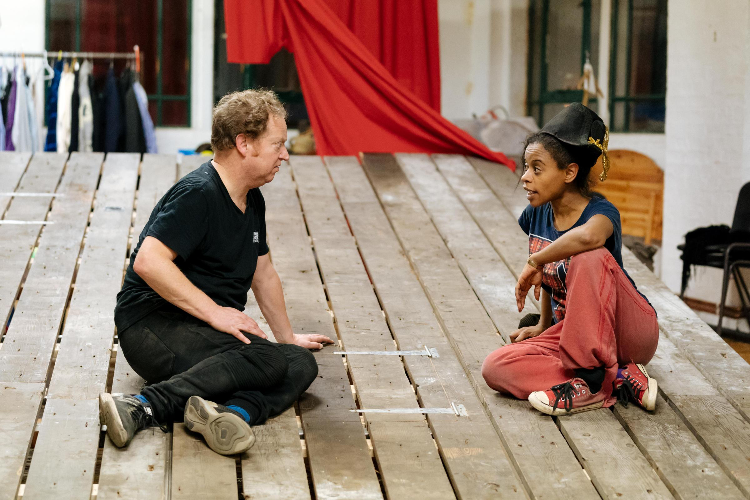 Paul Hunter and Ayesha Antoine in rehearsal for Told By An Idiot's Napoleon Disrobed. Picture: Manuel Harlan