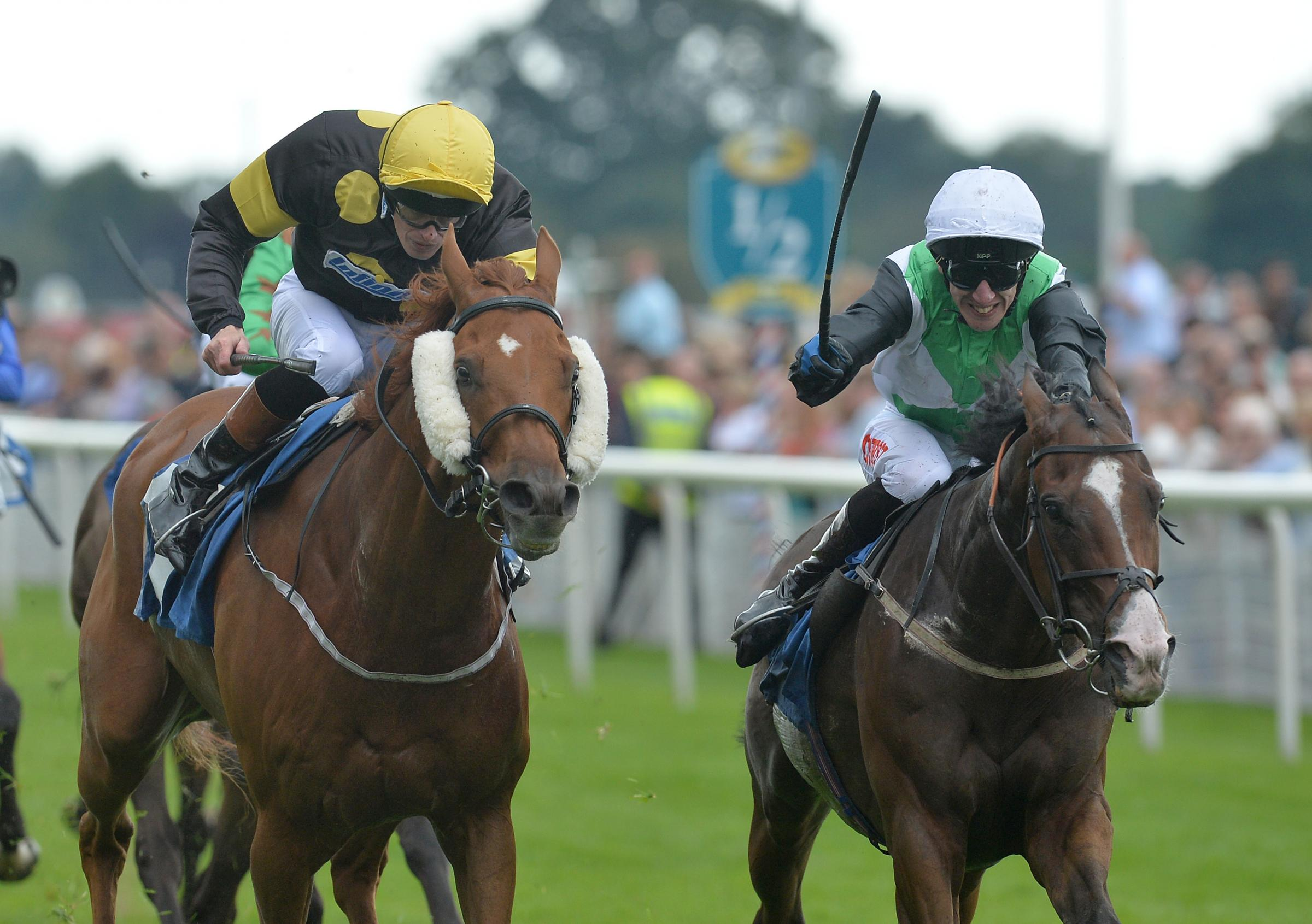 Barry McHugh (left) rides today's nap selection at Newcastle – Picture: Anna Gowthorpe/ PA Wire