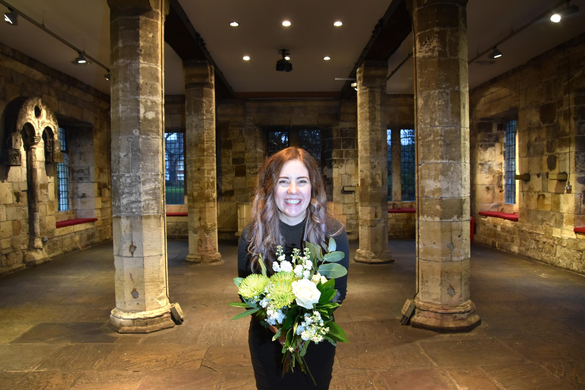 Eve Haynes, wedding and events assistant manager at York Museums Trust prepares for t the Wedding Oped Day at York Hospitium Picture Frank Dwyer.