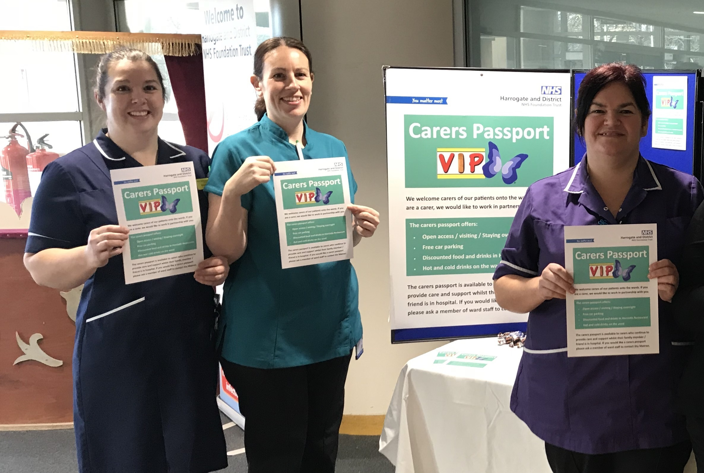 Pictured from left to right are: Brenda McKenzie, Unit Manager of Sir Robert Ogden Macmillan Centre, Sarah Davie, Palliative Care Nurse and Tammy Gotts, Lead Matron for Patients Living with Dementia.
