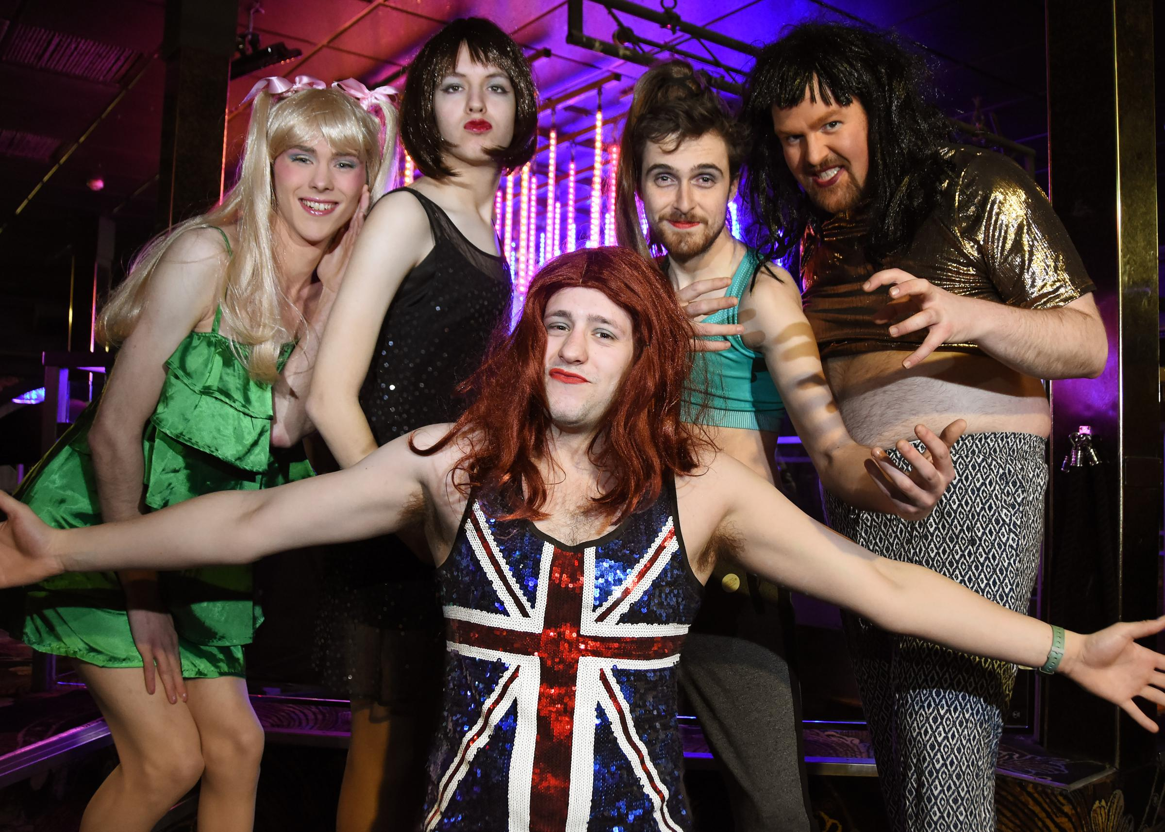 Looking forward to Wannabe - The Spice Girls Show at the Grand Opera House: David Harrison, dressed as Baby Spice; Alex Hill, as Posh; Sam Gray as Ginger; Luke Hutchinson as Sporty and David Rennie as Scary. Picture: The other David Harrison