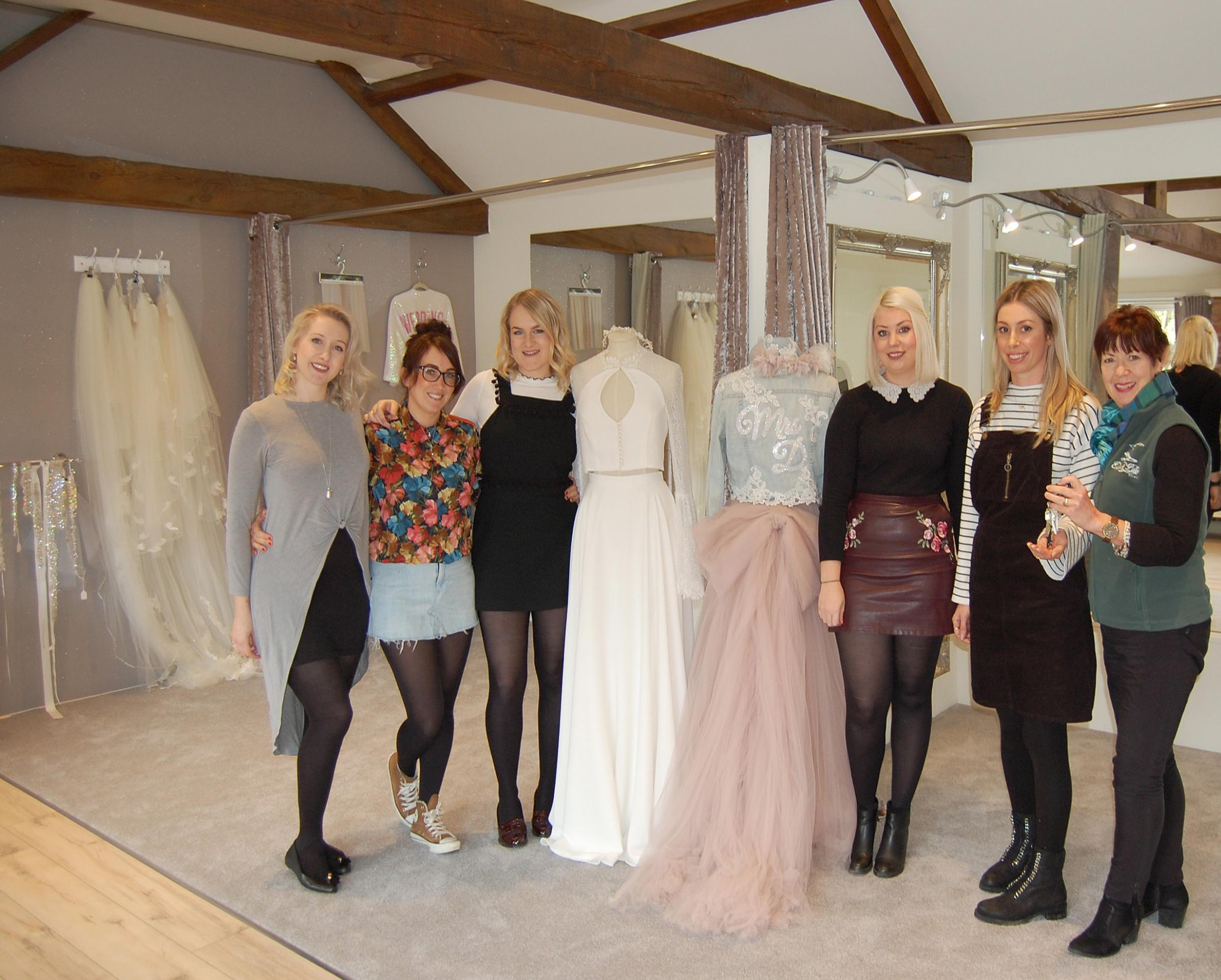 The Once Upon A Dress team, from left,: Rachel Davies, Samantha Rowley, Aimee Bullock, Robbie Wilson and Jade Wrigglesworth with Helen Pentith of Escrick Park Estate